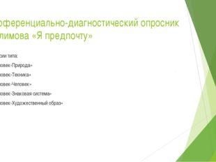 Дифференциально-диагностический опросник Е. Климова «Я предпочту» Профессии т