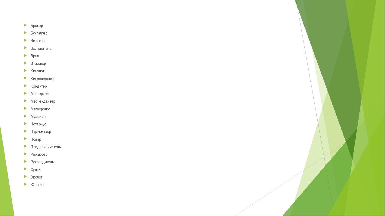Брокер Бухгалтер Визажист Воспитатель Врач Инженер Кинолог Кинооператор Конди...