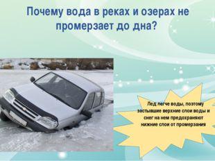 Почему вода в реках и озерах не промерзает до дна? Лед легче воды, поэтому за