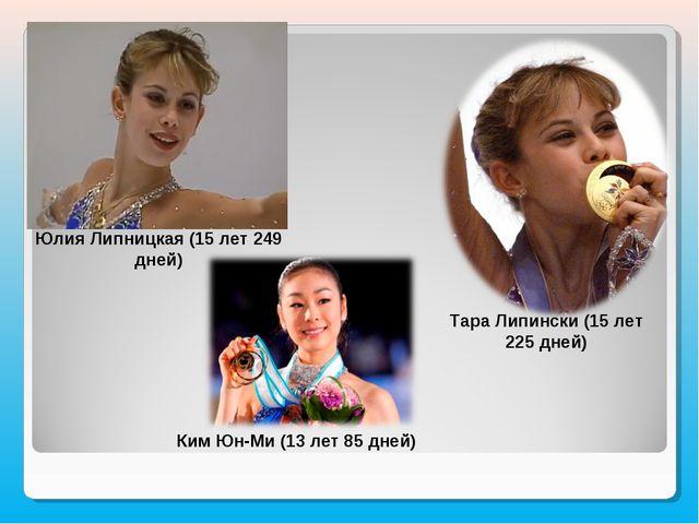 Юлия Липницкая (15 лет 249 дней) Тара Липински (15 лет 225 дней) Ким Юн-Ми (1...