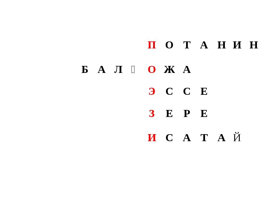 ПОТАНИН БАЛҒОЖА ЭССЕ ЗЕРЕ  ИСАТАЙ...