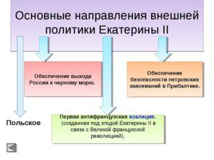 Основные направления внешней политики Екатерины II Обеспечение выхода России