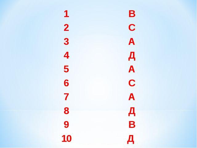 1В 2С 3А 4Д 5А 6С 7А 8Д 9В 10Д