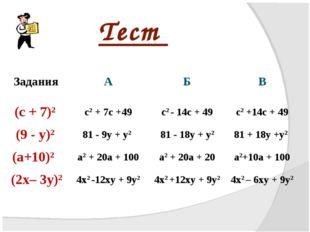 Тест ЗаданияАБВ (с + 7)2c2 + 7c +49c2 - 14c + 49c2 +14c + 49 (9 - у)28