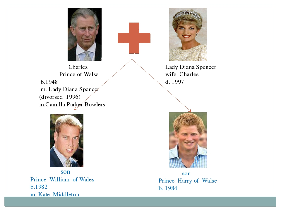 Charles Prince of Walse b.1948 m. Lady Diana Spencer (divorsed 1996) m.Camil...