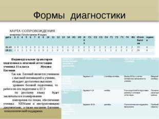 Формы диагностики КАРТА СОПРОВОЖДЕНИЯ (например) Гильмутдинова Ильдара Индиви