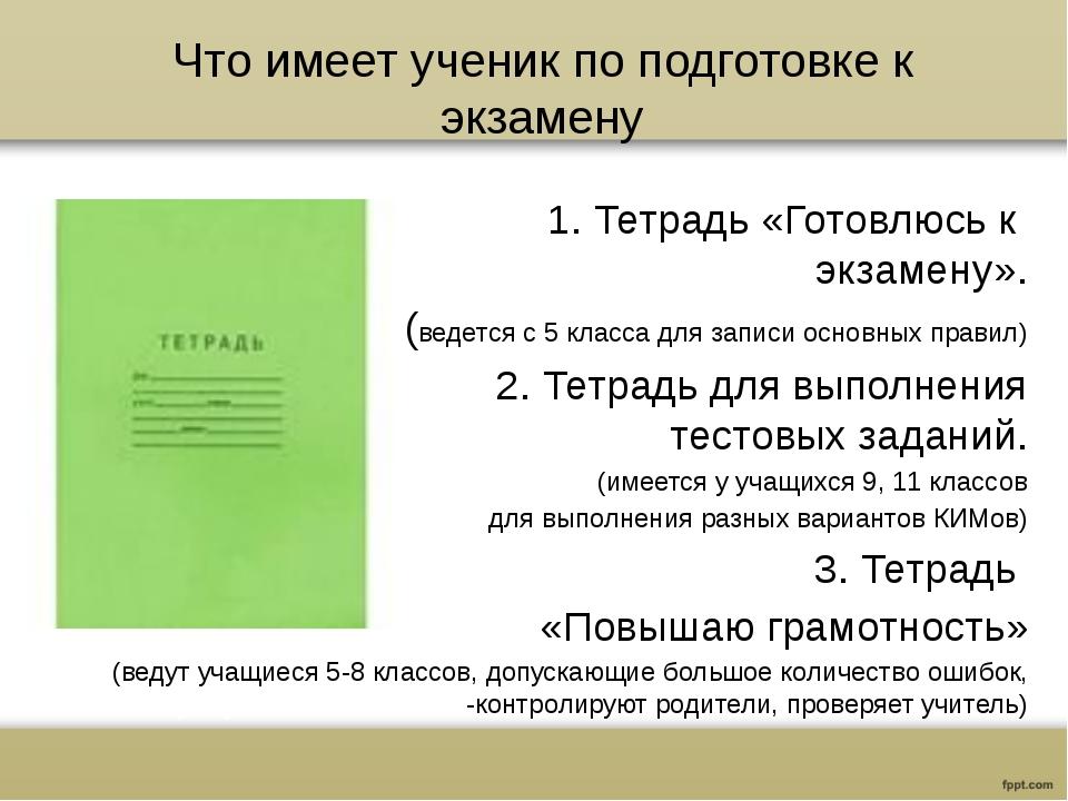 Что имеет ученик по подготовке к экзамену 1. Тетрадь «Готовлюсь к экзамену»....