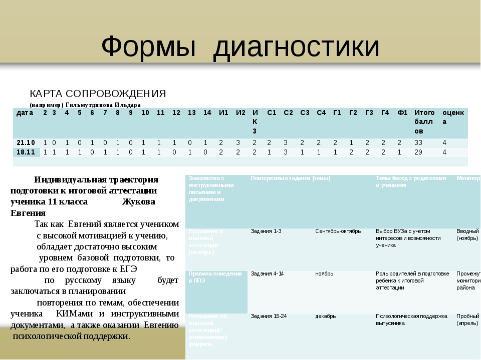 Формы диагностики КАРТА СОПРОВОЖДЕНИЯ (например) Гильмутдинова Ильдара Индиви...