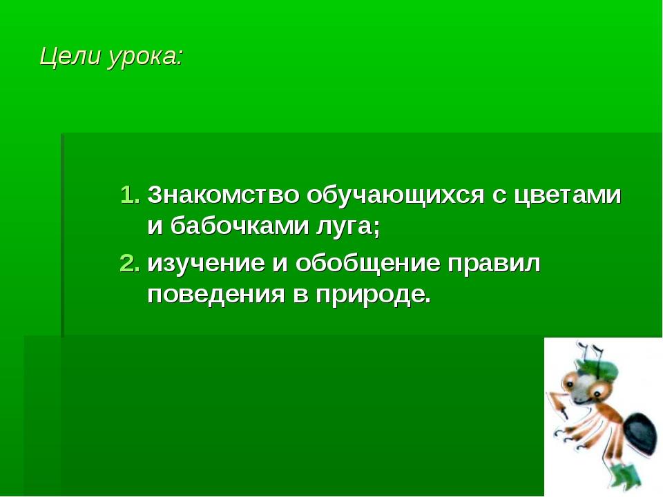 Цели урока: Знакомство обучающихся с цветами и бабочками луга; изучение и обо...