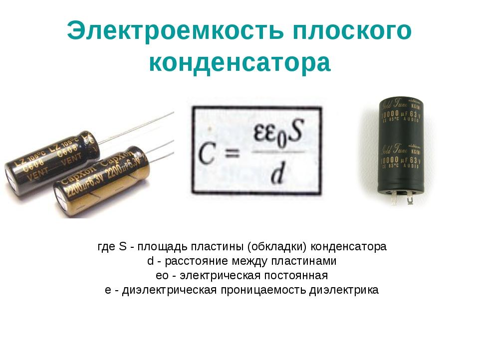 Электроемкость плоского конденсатора где S - площадь пластины (обкладки) конд...