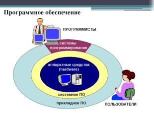 Программное обеспечение аппаратные средства (hardware) системное ПО прикладно