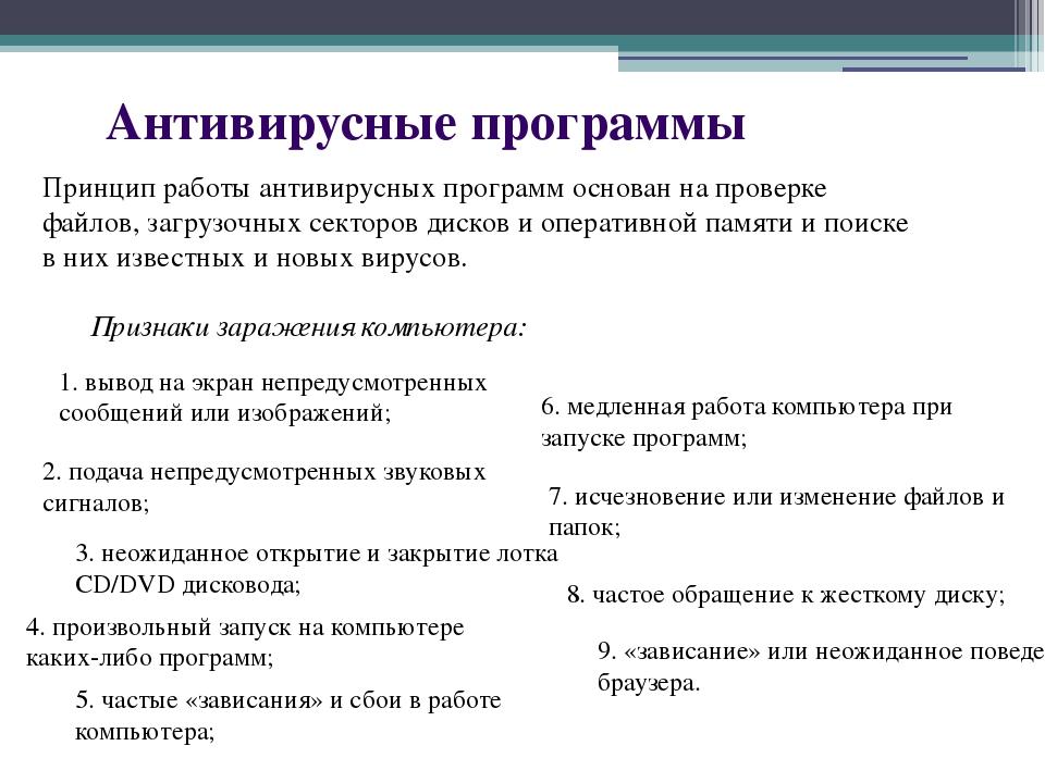 Антивирусные программы Принцип работы антивирусных программ основан на провер...