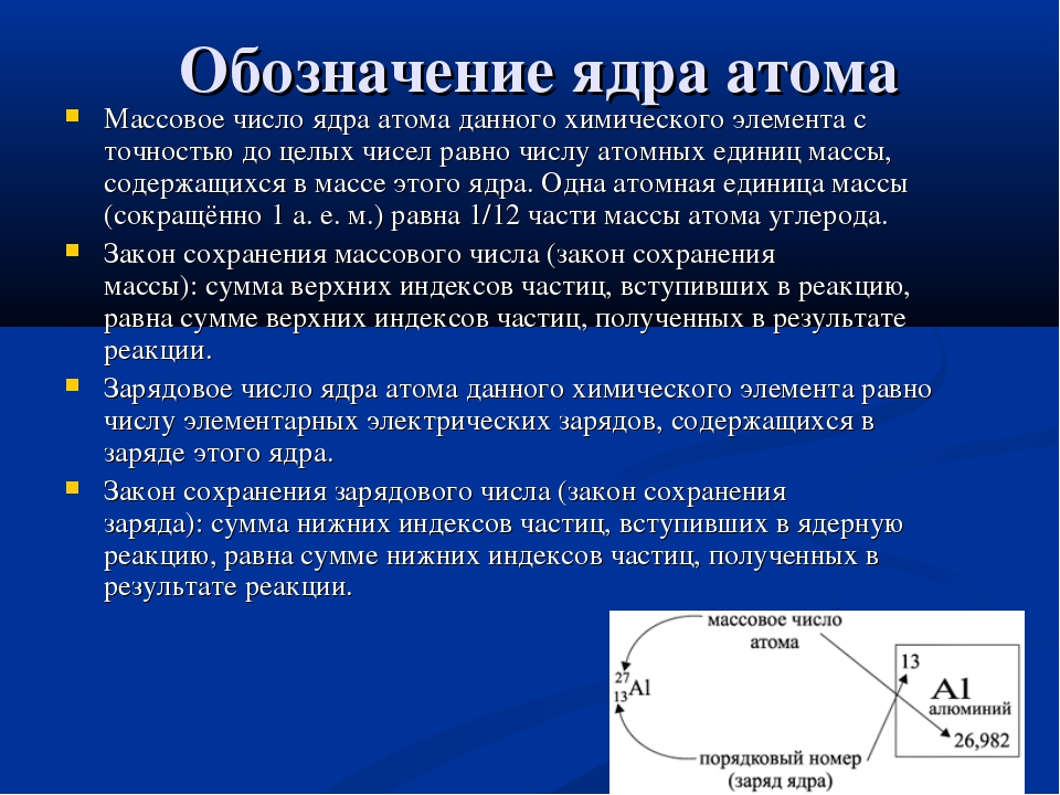 Обозначение ядра атома Массовое число ядра атома данного химического элемента...