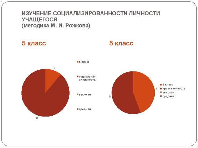 ИЗУЧЕНИЕ СОЦИАЛИЗИРОВАННОСТИ ЛИЧНОСТИ УЧАЩЕГОСЯ (методика М. И. Рожкова) 5 кл...