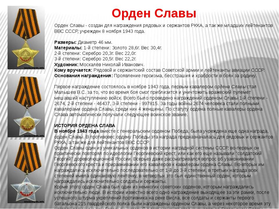 Орден Славы Орден Славы - создан для награждения рядовых и сержантов РККА, а...