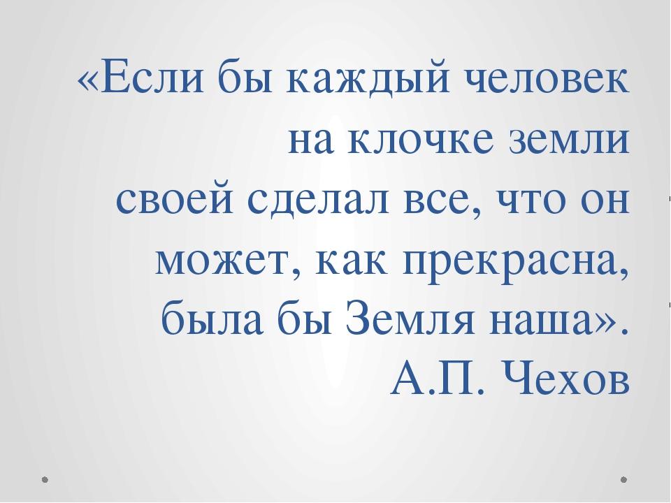 «Если бы каждый человек на клочке земли своей сделал все, что он может, как п...