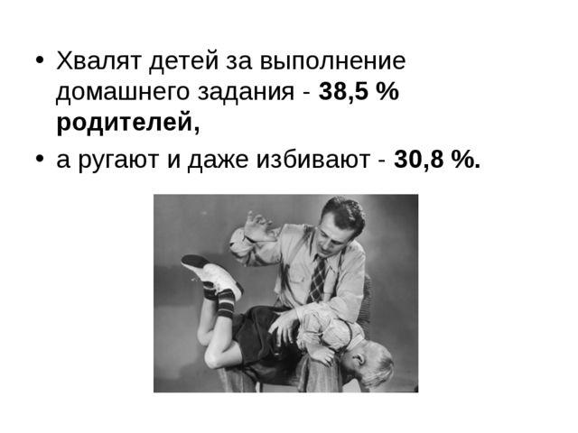 Хвалят детей за выполнение домашнего задания - 38,5 % родителей, а ругают и д...