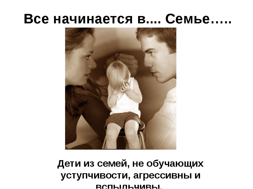 Все начинается в.... Семье….. Дети из семей, не обучающих уступчивости, агре...