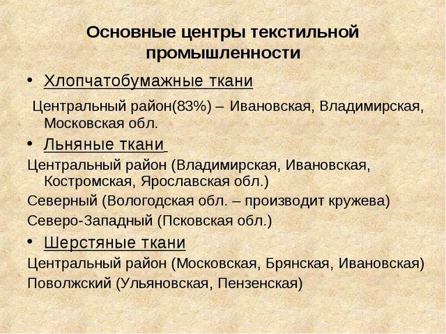 Основные центры текстильной промышленности Хлопчатобумажные ткани Центральный...