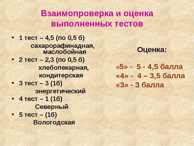 Взаимопроверка и оценка выполненных тестов 1 тест – 4,5 (по 0,5 б) сахарорафи...