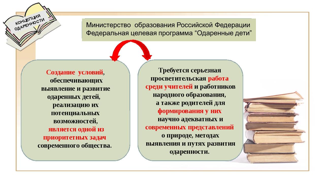 КОНЦЕПЦИЯ ОДАРЕННОСТИ Создание условий, обеспечивающих выявление и развитие...