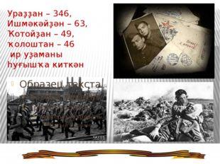Ураҙҙан – 346, Ишмәкәйҙән – 63, Ҡотойҙан – 49, ҡолоштан – 46 ир уҙаманы һуғыш