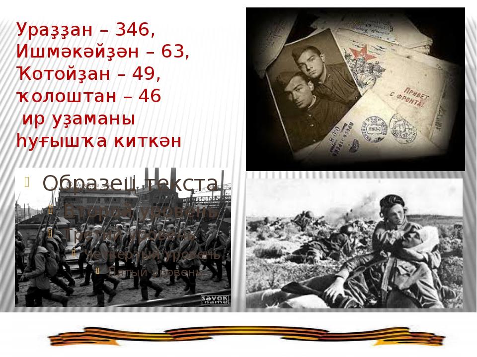 Ураҙҙан – 346, Ишмәкәйҙән – 63, Ҡотойҙан – 49, ҡолоштан – 46 ир уҙаманы һуғыш...
