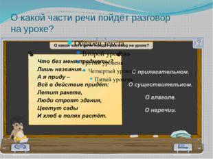 О какой части речи пойдёт разговор на уроке?