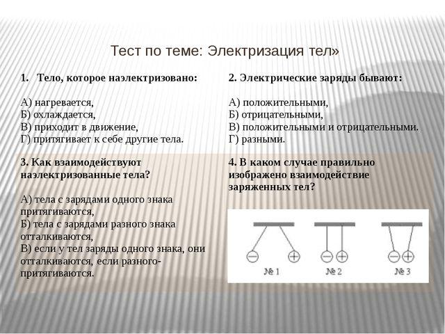 Тест по теме: Электризация тел» Тело, которое наэлектризовано: А) нагревается...