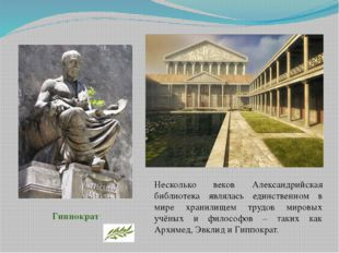 Несколько веков Александрийская библиотека являлась единственном в мире храни