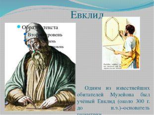 Евклид Одним из известнейших обитателей Музейона был учёный Евклид (около 3