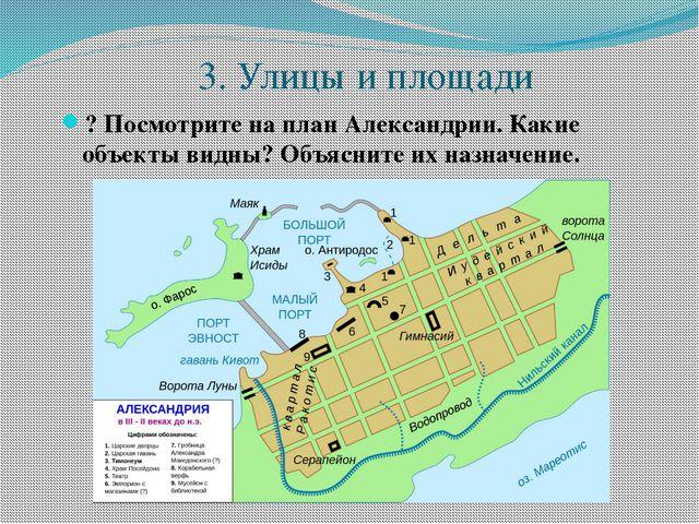 3. Улицы и площади ? Посмотрите на план Александрии. Какие объекты видны? Об...