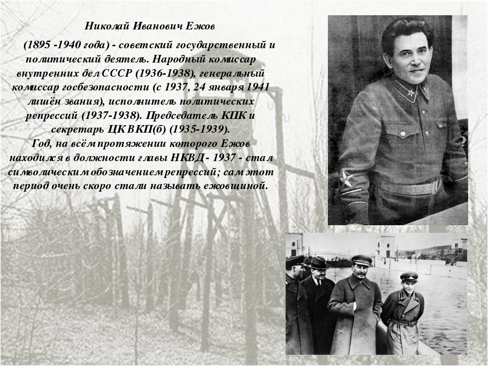 Николай Иванович Ежов (1895 -1940 года) - советский государственный и полити...