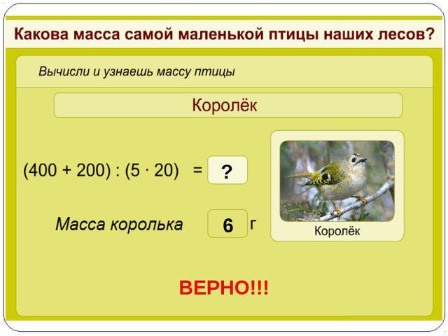 6 ВЕРНО!!! ?