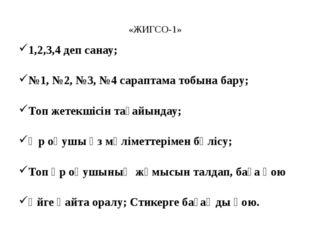 «ЖИГСО-1» 1,2,3,4 деп санау; №1, №2, №3, №4 сараптама тобына бару; Топ жетек