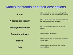 Match the words and their descriptions. A zoo A zoological society Endangered