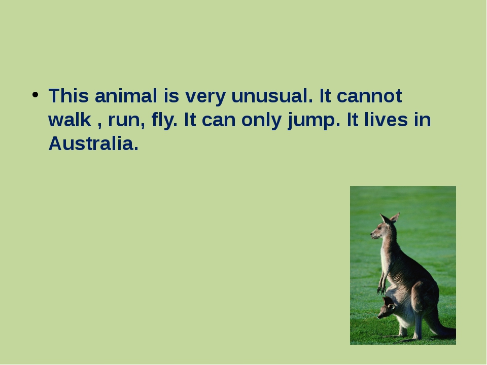 This animal is very unusual. It cannot walk , run, fly. It can only jump. It...