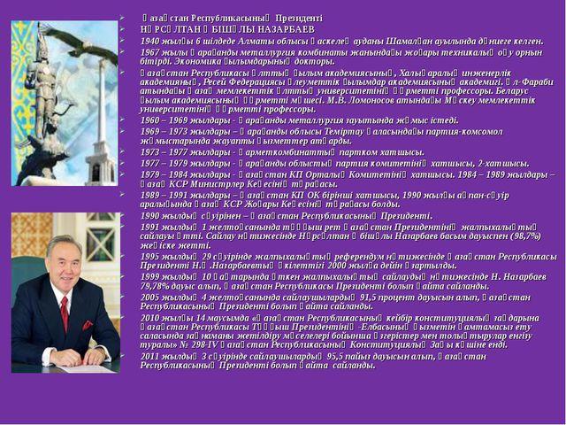 Қазақстан Республикасының Президенті НҰРСҰЛТАН ӘБІШҰЛЫ НАЗАРБАЕВ 1940 жылғы...