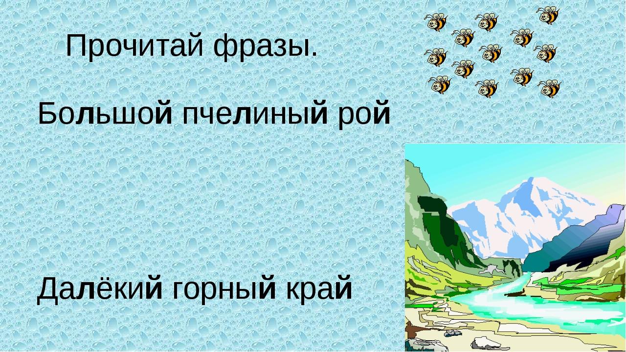 Прочитай фразы. Большой пчелиный рой Далёкий горный край