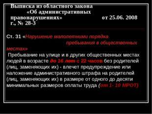 Выписка из областного закона «Об административных правонарушениях» от 25.06.