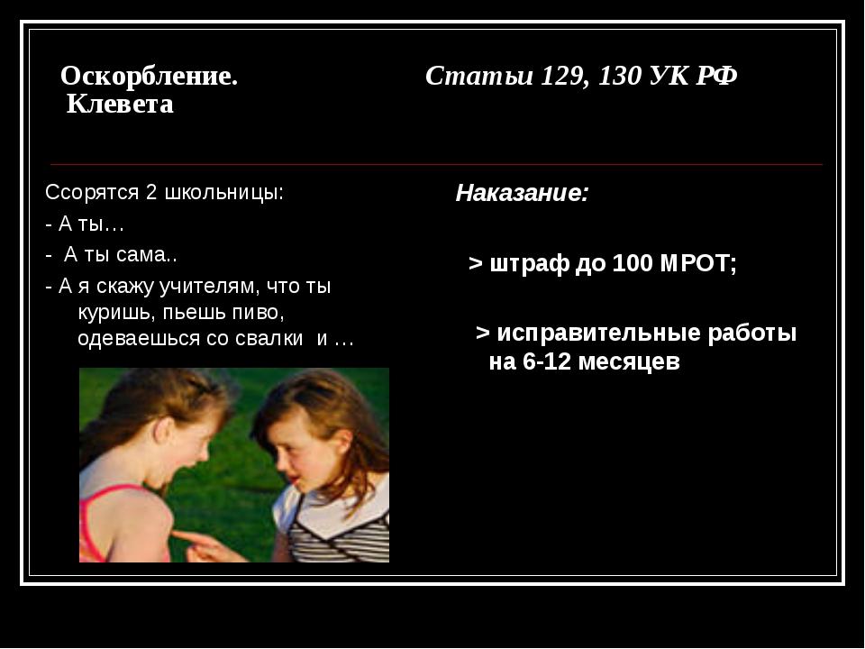 Оскорбление. Статьи 129, 130 УК РФ Клевета Ссорятся 2 школьницы: - А ты… - А...