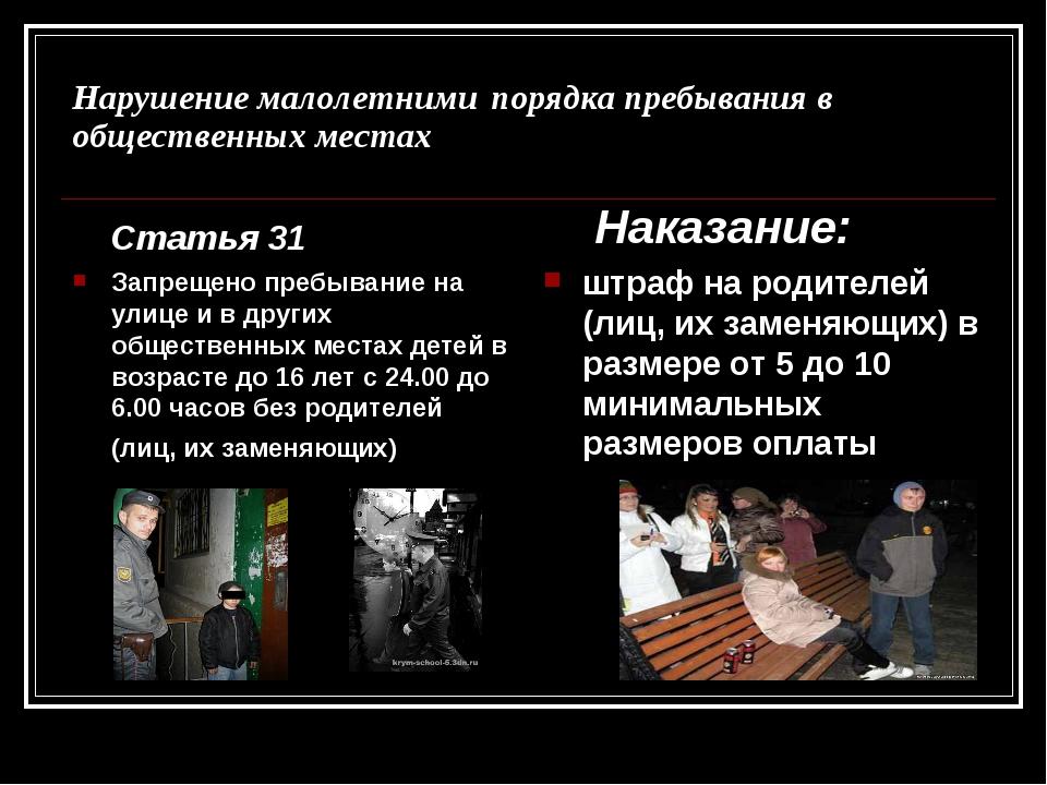 Нарушение малолетними порядка пребывания в общественных местах Статья 31 Запр...