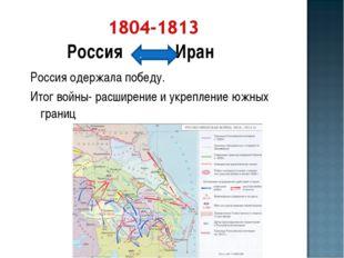Россия Иран Россия одержала победу. Итог войны- расширение и укрепление южных