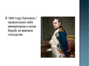 В 1804 году Наполеон I провозгласил себя императором и начал борьбу за мирово