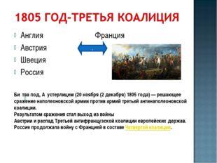 Англия Франция Австрия Швеция Россия . . Би́тва под, А́устерлицем (20 ноября