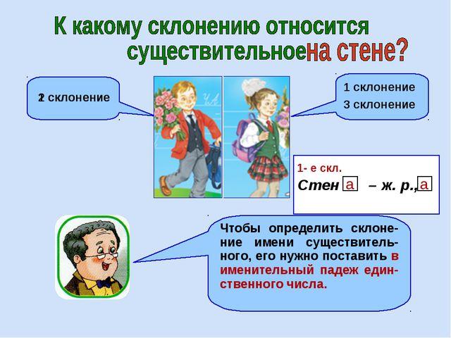 3 склонение 2 склонение 1 склонение 1 склонение Стен – ж. р., 1- е скл. а а Ч...