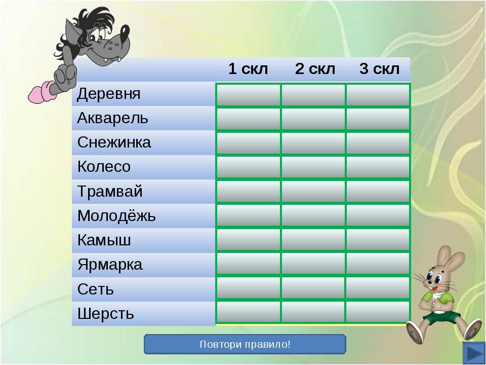 Повтори правило! 1 скл 2 скл 3 скл Деревня+ Акварель+ Снежинка+ К...