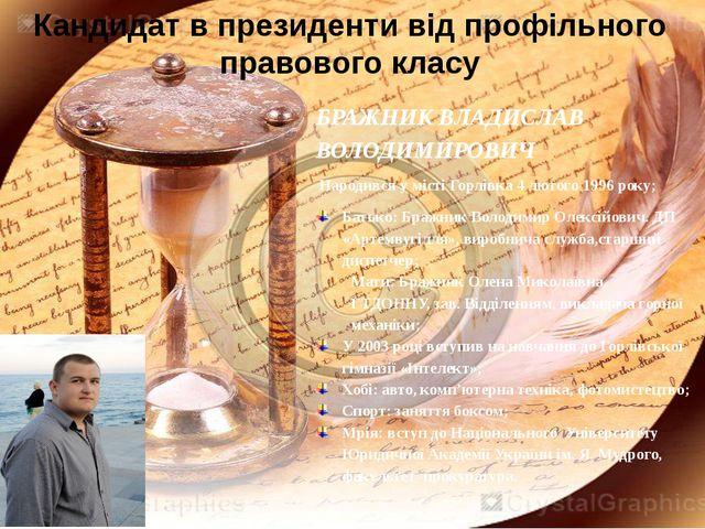 Кандидат в президенти від профільного правового класу БРАЖНИК ВЛАДИСЛАВ ВОЛОД...