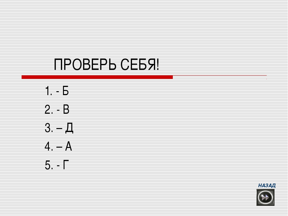 ПРОВЕРЬ СЕБЯ! 1. - Б 2. - В 3. – Д 4. – А 5. - Г НАЗАД