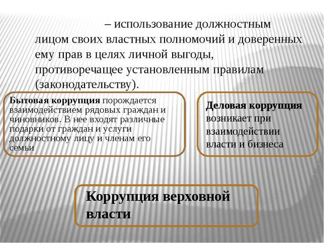 Бытовая коррупция порождается взаимодействием рядовых граждан и чиновников. В...
